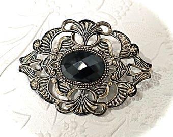 Vintage Victorian  Brooch Black Rhinestone Pin Jewelry Accessories VA-144
