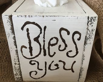 Tissue Box-Kleenex Box-Bathroom Decor-Bathroom-Home Decor-Farmhouse Decor-Tissue Box Cover-Bless You