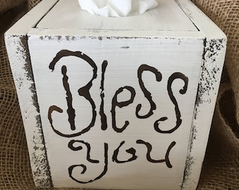 Tissue Box-Kleenex Box-Bathroom Decor-Bathroom-Home Decor-Farmhouse Decor-Tissue Box Cover-Bless You