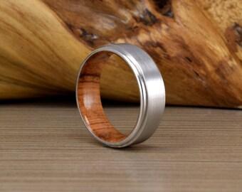 Cobalt and Olive Wood Wedding Ring - Mens Wedding Band - Women's Wedding Band - Mens Wedding Ring - Unique Wedding Band