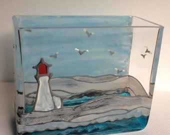 At the Lighthouse, Glass Vase, Pencil Holder, Organizer, Gift for Him or Her, rocky seashore, coastline, handpainted vase, Wedding Gift