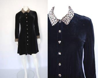 90s velvet and leopard print dress, vintage shirt dress -- black velvet, animal print, collar dress, button front, grunge 1990s 90s clothing