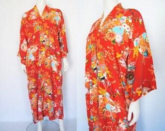 60s floral kimono robe, vintage asian print robe -- kimono sleeve, kimono print, floral duster, persimmon orange, japanese robe, 1960s 60s
