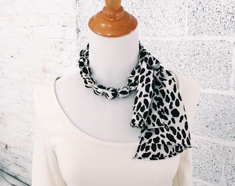 Cow Animal Print Beaded Fabric Necklace Scarf