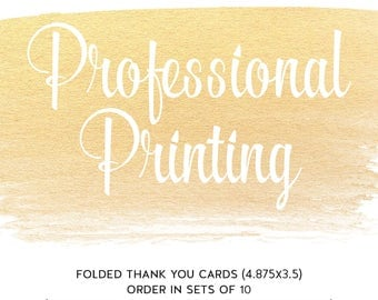 Folded Thank You Card - (4.875x3.5) -  Double Sided - ChiccDesigns Custom Thank You Cards - Premium Cardstock 120# White