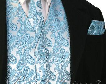 Turquoise Blue XS to 6XL Paisley Tuxedo Suit Dress Vest Waistcoat & Neck tie And Hankie Set wedding