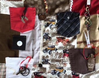 VINTAGE FORD CARS and Pockets | Fidget Quilts for Alzheimer's | Dementia Blanket | Fidget Blanket | by Restless Remedy