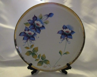 Vintage Colorado Columbine Collectors plate by Norcrest S-555 and S- 554