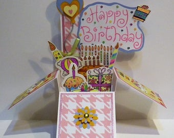 Pink, Green and Blue Birthday Explosion Card in a Box, Pop up Card, Box Card, Pink Birthday Card