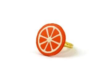 Orange slice ring, tangerine slice ring, clementine slice ring, citrus slice ring, gourmand fancy ring, plastic fruit ring (recycled CD)