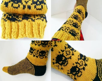 Punk Love Knee High Skulls handknitted socks/made to order/ladies socks/bed socks/boot socks/house socks/100% wool.