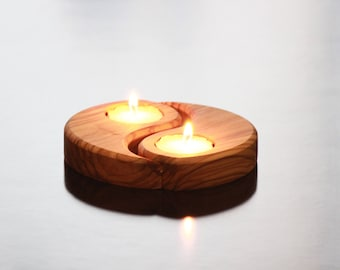 Romantic Olive Wood Tea Light Candle Holder - Tear Shaped