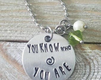 "Inspired by Moana necklace, ""You know who you are"" 18 in stainless steel ball chain"