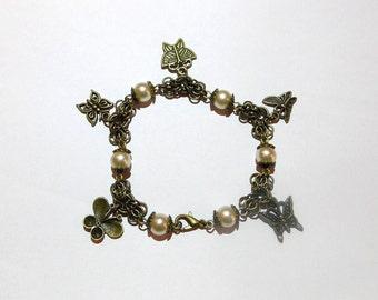Steampunk Butterfly Charm Bracelet
