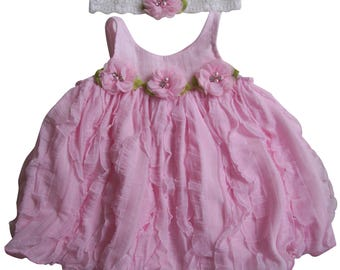 Pink Chiffon Ruffles and Pink Roses with Pearls and Rhinestones Baby Dress and Headband