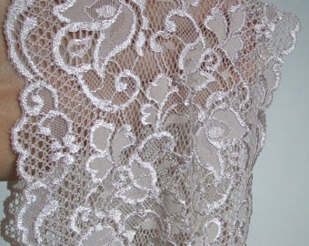"2.7 yards Beige french lace trim (N93)/  6""wide stretch lace trim by the yard"