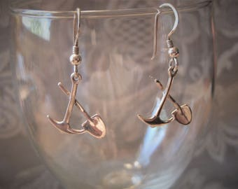 Sterling Silver Pick and Shovel Dangle Earrings, No. 2160.