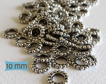 Granulated Pewter Spacer Ring Beads--20 Pcs | SU113-20