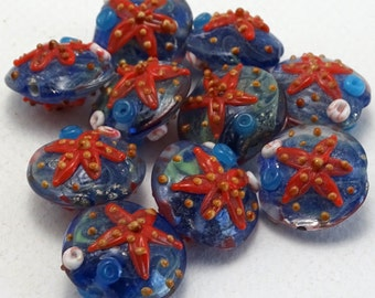 Starfish Lampwork Glass Beads-Sets of 2 | 2-STAR-2
