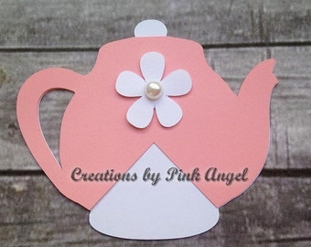 Supplies for 12 Teapots, Teapot Die Cuts, Teapot Paper Cutouts, Tea Party Paper Cut Outs, Tea Party Cut Outs, SUPPLIES ONLY