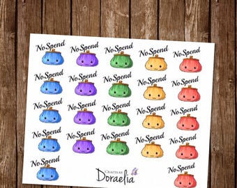 No Spend planner stickers, Shopping Stickers