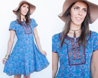 Sale 40% Off VTG   1970's   Blue & Purple Floral Dress   Ethnic   India   Embellished   S