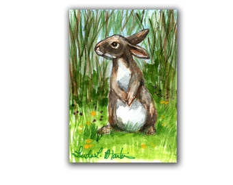 Rabbit Lovers Special! Spring Bunny 2  LLMartin Original ACEO  Watercolor Free Shipping USA