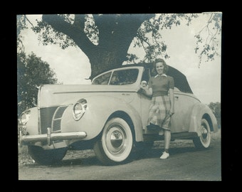 Girl And Car 1940's Black & White Vintage Photo