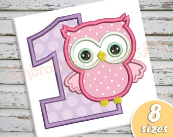 Birthday Owl Applique Design - 8 Sizes - Machine Embroidery Design File