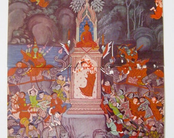 Fantastic vintage book print. The Life of the Buddha. Temple paintings. 41 x 27 cm.