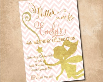 "Fairy Birthday Invitation..""Flutter on Over..""/DIGITAL FILE/printable/wording and colors can be changed"
