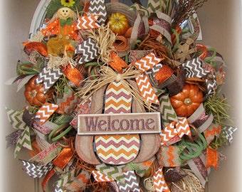 Pumpkin Deco Mesh Wreath, Fall Deco Mesh Wreath, Deco Mesh Wreath, Rustic Fall Mesh Wreath
