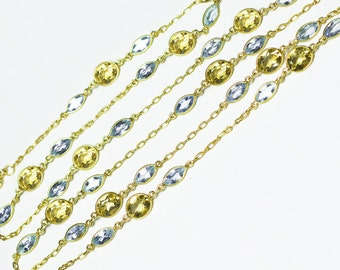 24K Gold Vermeil Blue Topaz and Citrine Necklace, 24K Gold Vermeil Blue Topaz and Citrine Bracelet, Blue Topaz Necklace Citrine Bracelet