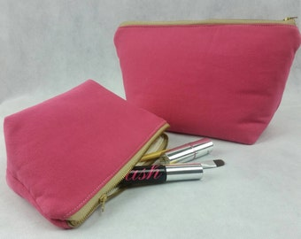 Zipper pouch, Pink cosmetic catch-all set, SALE, ready to ship