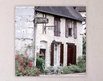 Square Fine Art Print, Cottage in French Village, French Country, Cottage Style
