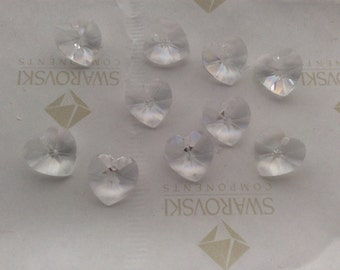 Swarovski #6202 Crystal Clear Heart Faceted Pendants Beads 10mm 14mm 18mm