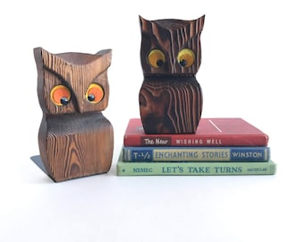 Vintage Cryptomeria Owl Bookends