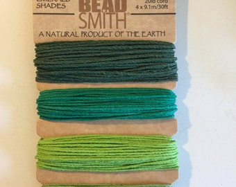 Natural Hemp Cord, 20lb test, Emerald Shades