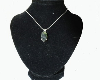 Moldavite .925 Sterling Silver Setting and Chain