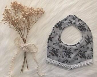Boho Dribble Bib with Lace - Wildflower Print