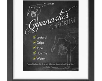 """GYMNASTICS Gear Checklist for Kids - 8""""x10"""" Art for Digital Download (PDF) - Reminder/Routine"""