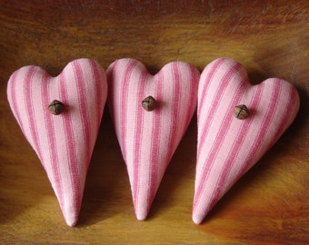 Primitive Heart Bowl Fillers ~ Pink Homespun Ticking Fabric ~ Valentines Day ~ Farmhouse Ornies