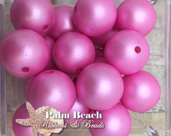 Chunky 20mm Bubblegum Acrylic Matte Pearl Beads PINK- 10pcs