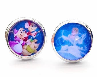 Disney Cinderella Princess And Cute Mice Novelty Stud Earrings.10mm Available as cufflinks
