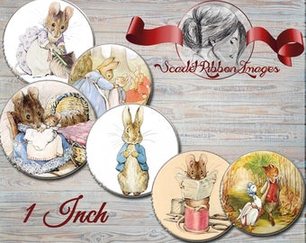 Beatrix Potter 1 inch Bottle Cap images -  600dpi  printable digital collage sheet, stickers,  magnets, gift tags, cupcake toppers, pendants