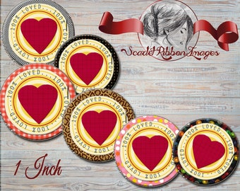 100 percent Loved hearts images for bottle caps 1 inch round circles