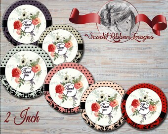 THANK YOU TAGS, labels, notes for any occasion - Collage Sheet, Shower Gift Tags, Labels, Notes, Cupcake Toppers, Favor bag tags, gift tags
