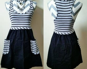 Black & Grey Striped Pocket Dress