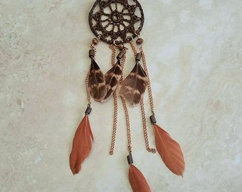 Dream Catcher Crochet Feather Faux Suede Gold-Plated Necklace 26-28 Inches Adjustable