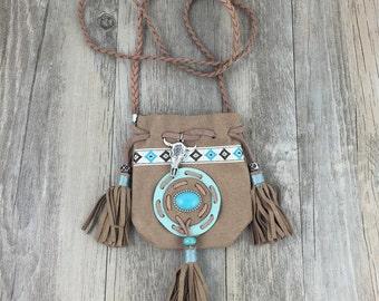 SALE ~ Medicine Bag Tassel Purse Necklace Pouch Vegan Leather Faux Suede 34 Inches